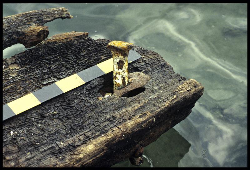 Vue de détail d'une planche de bois de la carène avec une broche métallique (fouille E. Rieth).