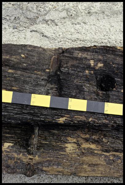 Vue de détail d'une cheville dans une planche de bois de la carène (fouille E. Rieth).