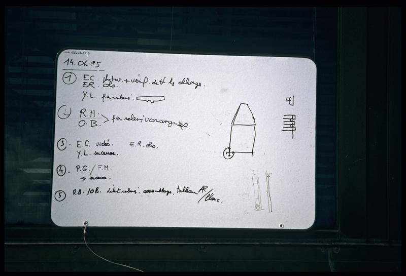 Vue du tableau de travail de la journée du 14 juin 1995 (fouille E. Rieth).