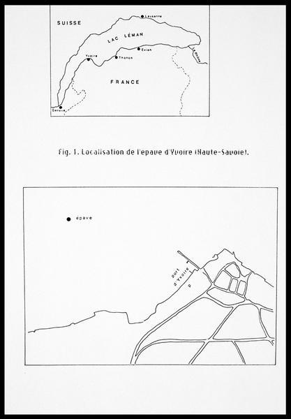 Vue de la localisation de l'épave sur une carte (fouille E. Rieth).
