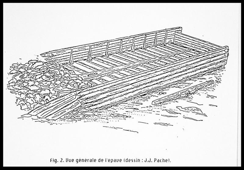 Vue du dessin de restitution de l'épave (fouille E. Rieth).