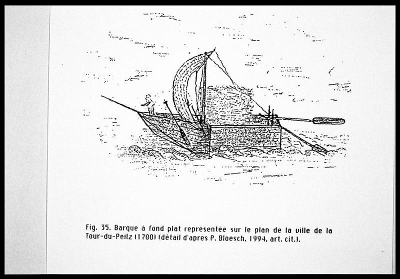 Vue du dessin d'une barque à fond plat d'après le plan de la ville de Tour-du-Peilz (1770) (fouille E. Rieth).