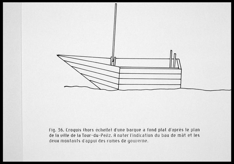 Vue du dessin de la restitution d'une barque à fond plat d'après le plan de la paroisse de Lutry (fouille E. Rieth).
