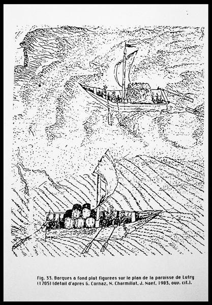 Vue du dessin des barques à fond plat d'après le plan de la paroisse de Lutry (fouille E. Rieth).
