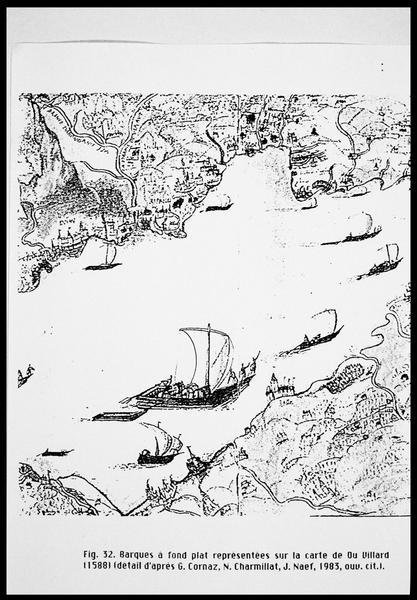 Vue du dessin d'une barque à fond plat d'après la carte de Du Villard (1588) (fouille E. Rieth).