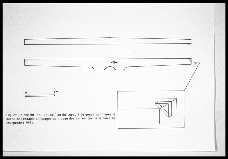 Vue du relevé du bau de mât (fouille E. Rieth).
