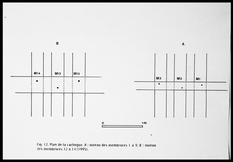 Vue du plan de la carlingue au niveau des membrures 1 à 3 et 12 à 14 (fouille E. Rieth).