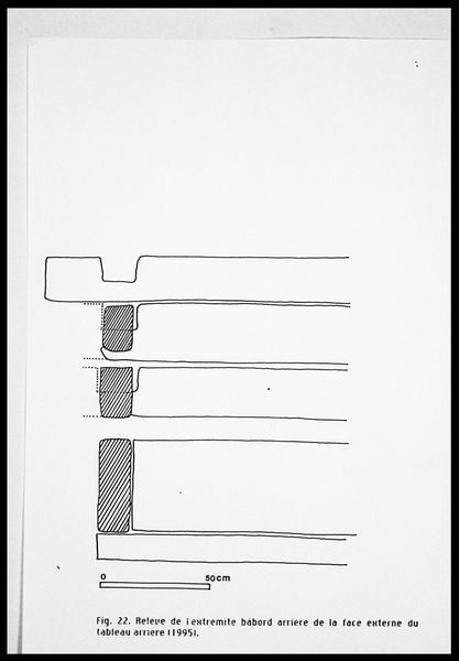 Vue du relevé de l'extrémité babord arrière (fouille E. Rieth).