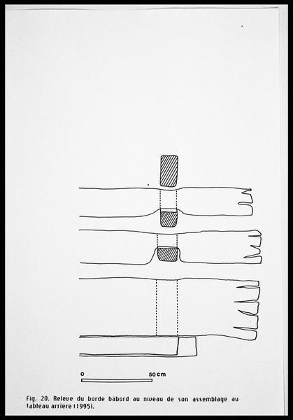 Vue du relevé du bordé babord arrière (fouille E. Rieth).