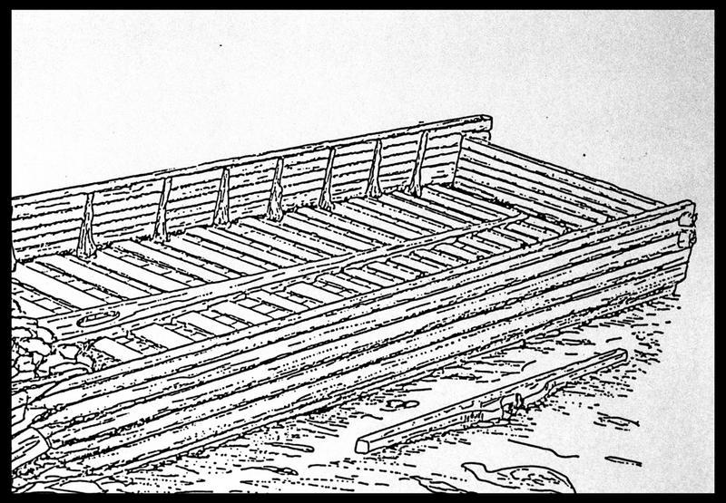 Vue du dessin de la partie arrière de l'épave (fouille E. Rieth).