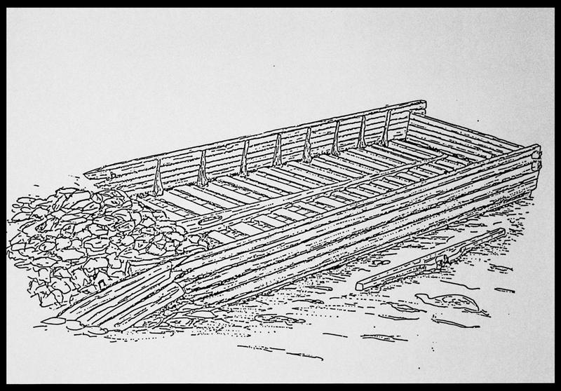 Vue du dessin général de l'épave (fouille E. Rieth).