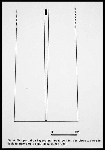 Vue du plan partiel au niveau du haut des virures entre le tableau arrière et les relevé de 1995 (fouille E. Rieth).