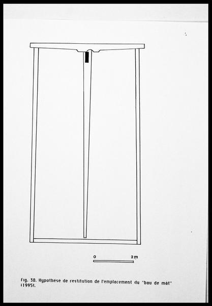 Vue du dessin de l'hypothèse de restitution de l'emplacement du bau de mât (fouille E. Rieth).