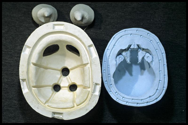 Vue du moule et contre moule du dessus d'un crâne humain (CNRAS).