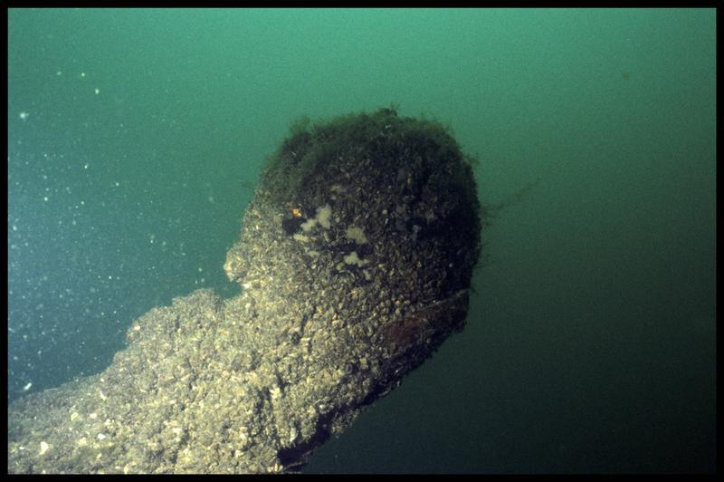 Vue sous-marine de détail du rode avant la fouille (fouille E. Rieth).