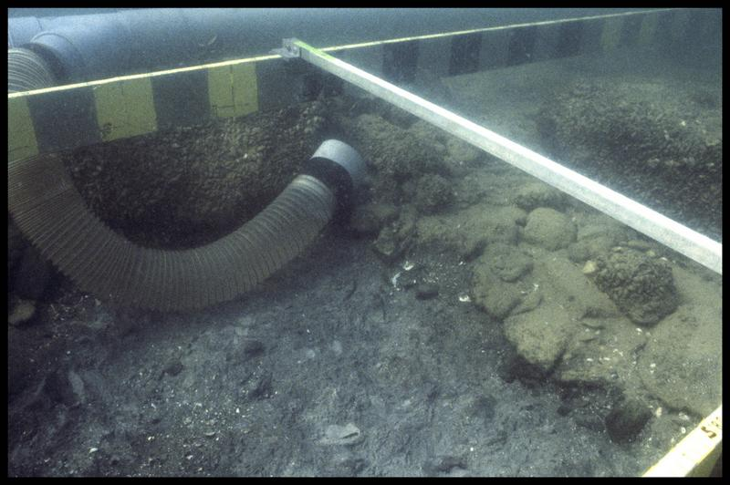 Vue de la suceuse à eau dévasant une pierre (fouille A. Marguet/Drassm).