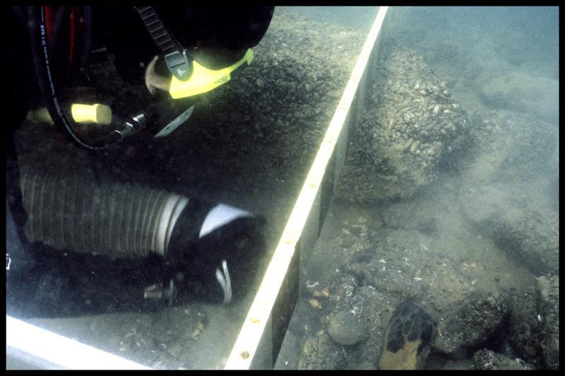 Vue sous-marine d'un plongeur dévasant à la suceuse à eau (fouille A. Marguet/Drassm).