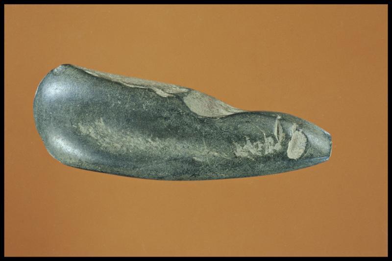 Vue d'une pierre polie (fouille C. Dupont).