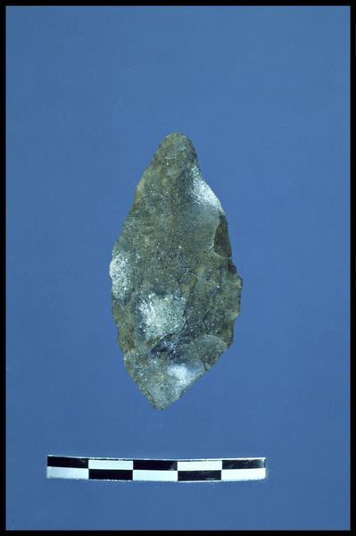 Vue d'une pointe de silex taillé (fouille C. Dupont).