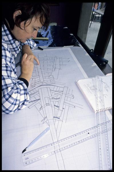 Vue de la mise au net du plan général (fouille E. Rieth).