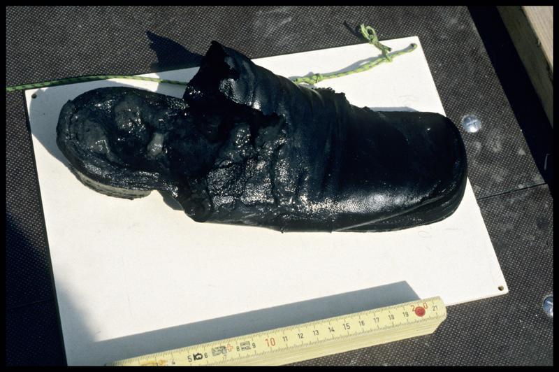 Vue d'une chaussure de cuir à sa remontée (fouille E. Rieth).