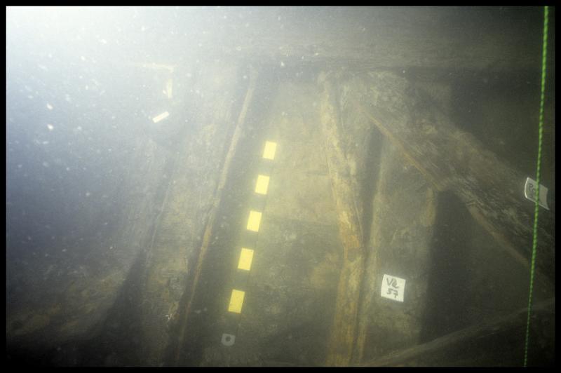 Vue sous-marine de la varangue V57 (fouille E. Rieth).