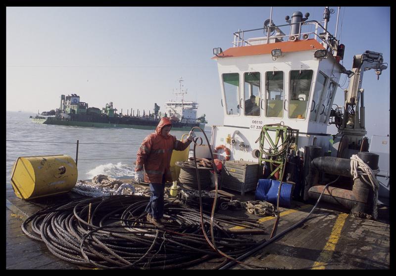Vue des câbles d'amarrage du ponton (fouille M. L'Hour/Drassm).