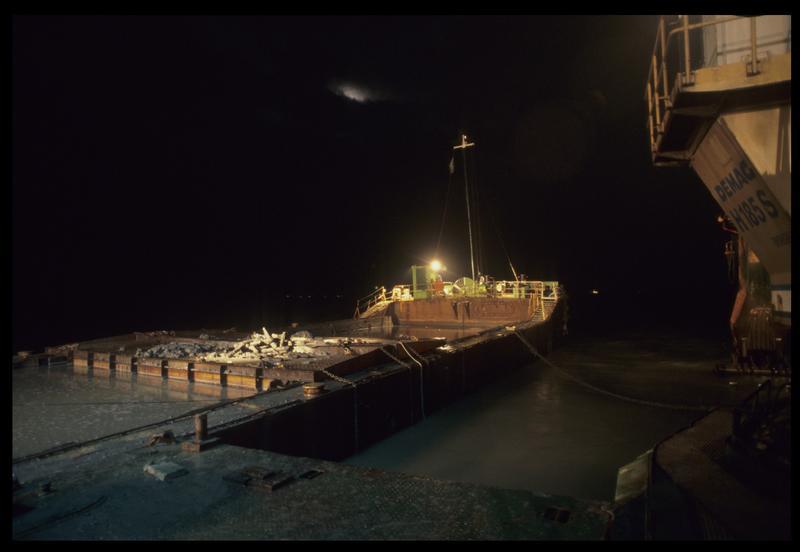 Vue des éléments de carène sur le ponton (fouille M. L'Hour/Drassm).