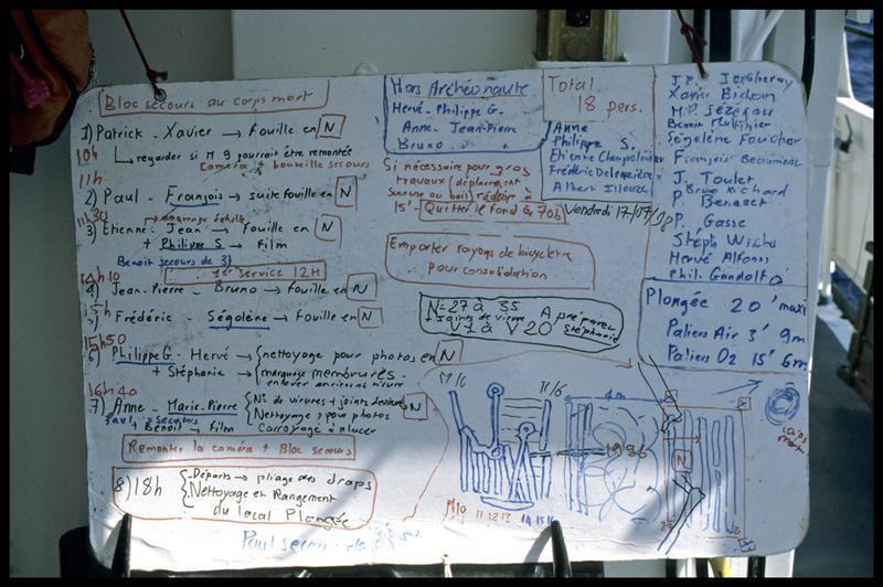 Vue du tableau de travail de la journée du 17 juillet 1998 (fouille M-P. Jézégou/Drassm).