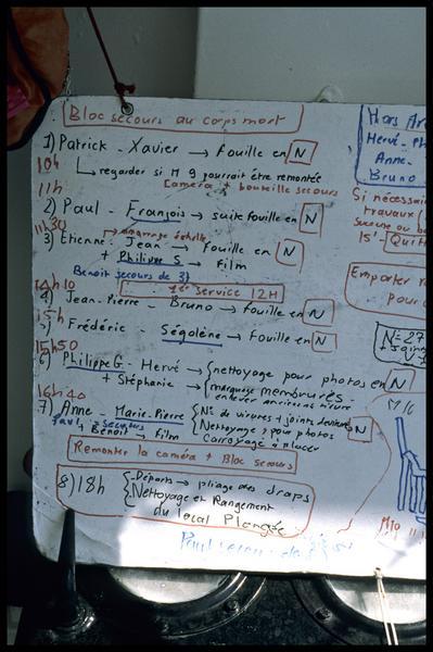 Vue de détail des plongées du tableau de travail du 17 juillet 1998 (fouille M-P. Jézégou/Drassm).