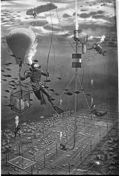 Vue d'un dessin de chantier de fouille sous-marin avec plongeurs, levage d'amphores et carroyage.