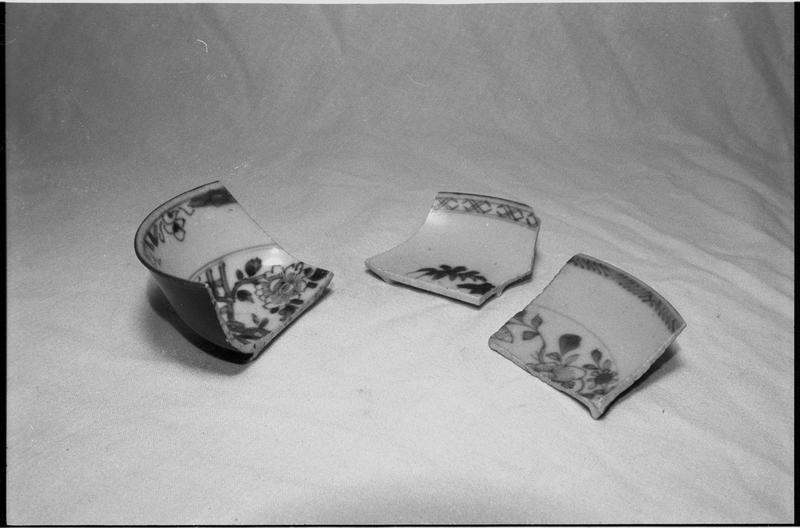 Vue d'un lot de trois fragments d'un bol de porcelaine ornée de fleurs (fouille M. L'Hour/Drassm).