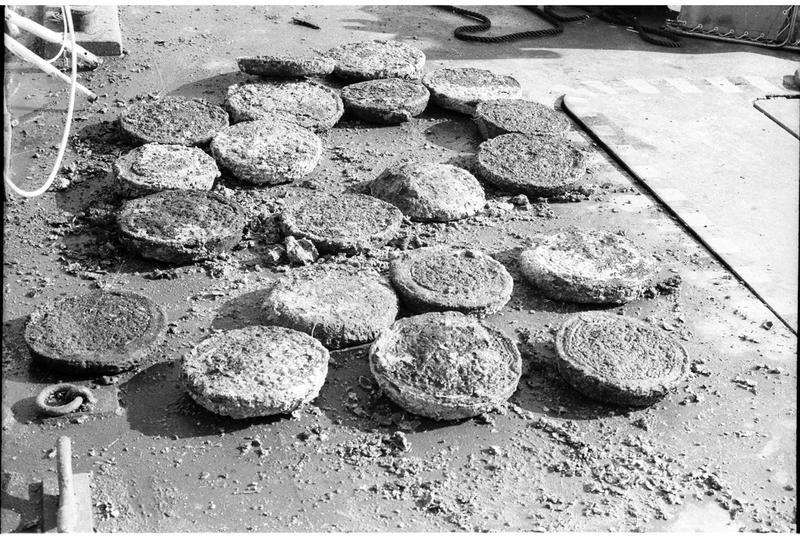 Vue des galettes de cuivre estampillées (fouille R. Lequément).