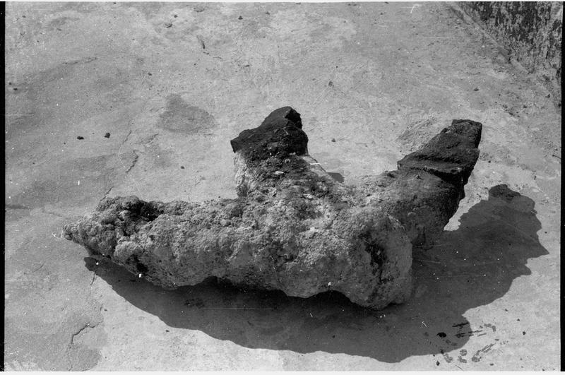 Vue d'un fragment d'ancre de fer (fouille R. Lequément).