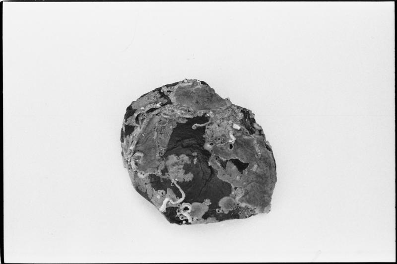 Vue de dessus d'un fragment de fond de bouteille de verre (fouille M. L'Hour/Drassm).