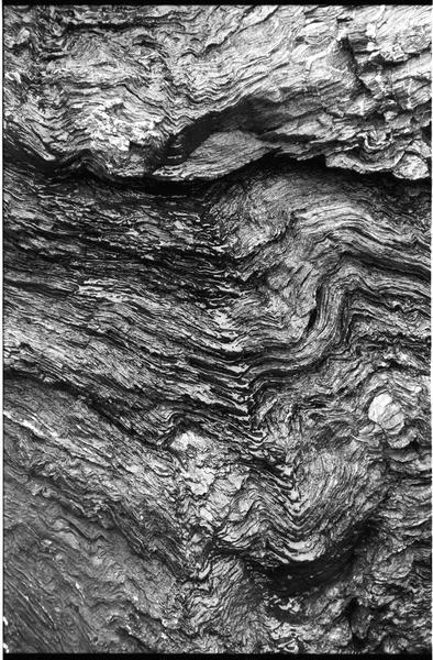Vue de détail des roches de la falaise (fouille M. L'Hour/Drassm).