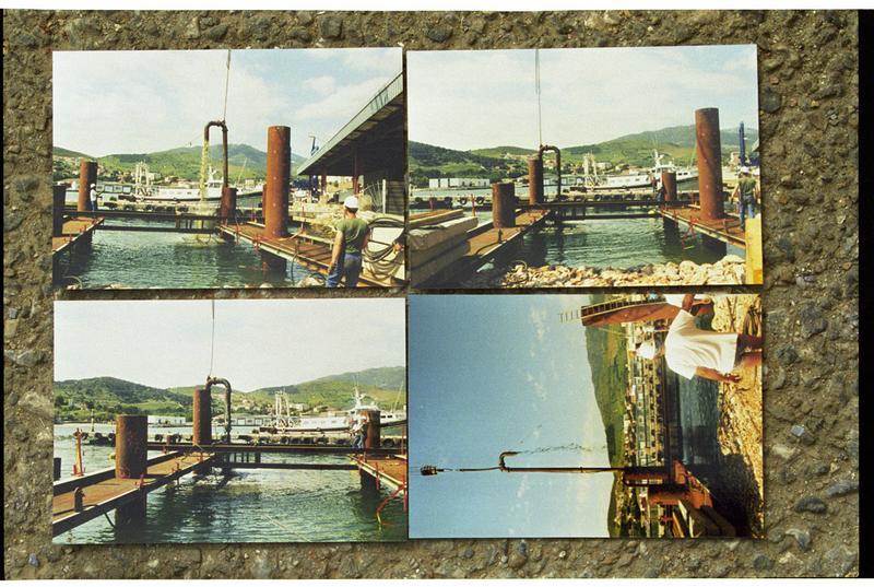 Vue d'un montage photo de l'amménagement du port (fouille M. Guyon).