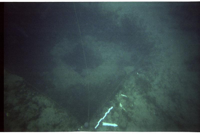 Vue sous-marine du carré de fouille (fouille M. Guyon).