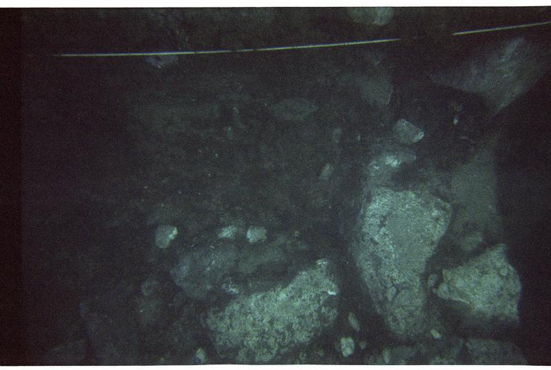 Vue sous-marine des pierres in situ (fouille M. Guyon).
