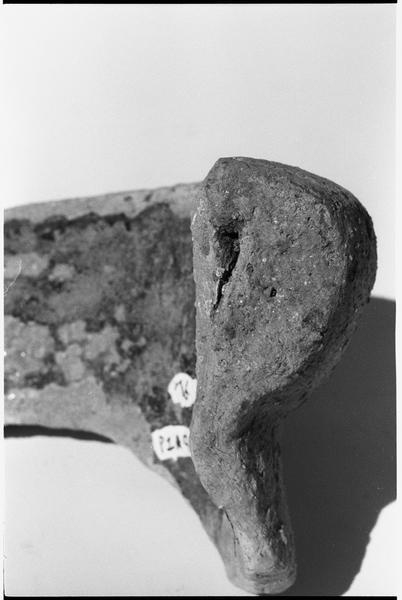 Vue de détail d'une lèvre d'amphore (fouille L. Long/Drassm).