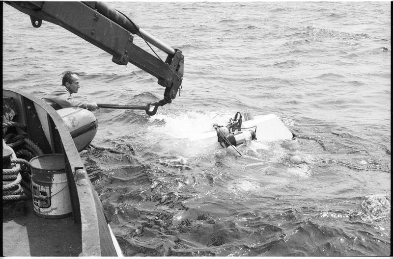 Vue de l'amarrage du sous-marin Nérée (fouille L. Long/Drassm).