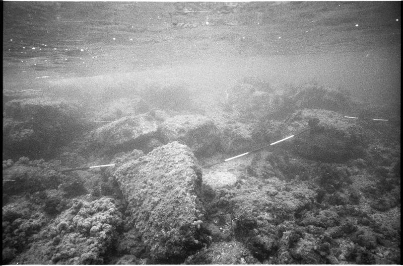 Vue sous-marine des pierres taillées (fouille L. Long/Drassm).