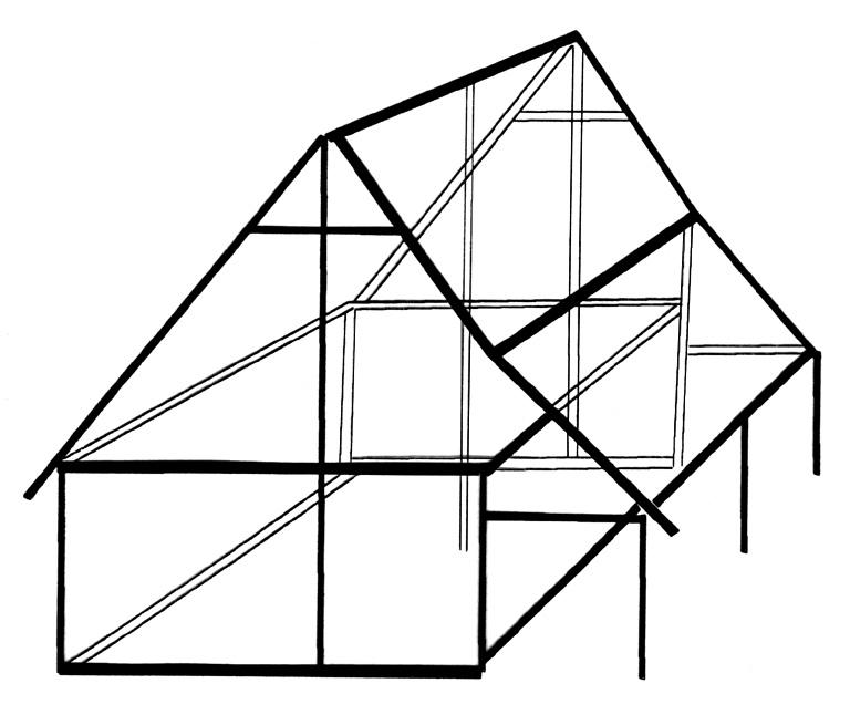 Structure 0021. Ce bâtiment a fait l'objet d'une hypothèse de restitution. La faîtière est supportée par trois poteaux porteurs repris chacun par une entrait. Les murs présentent un poteau tous les 0,50 m assemblé aux sablières basses et hautes par tenon et mortaise. Ils sont réalisés en torchis sur lattage en bois. L'ouverture principale se trouve sur la longueur donnant sur l'appentis. Les assemblages sont de deux types :tenon - mortaise et mi-bois. En dehors des chevrons, tous les bois sont assemblés. La couverture a été effectuée en roseaux. Le toit est supporté par trois poteaux enfoncés dans le sol repris par des bois horizontaux qui le solidarisent au bâtiment principal.