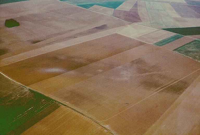 Nombreuses traces de terrassements et grands enclos courbes, fosses.