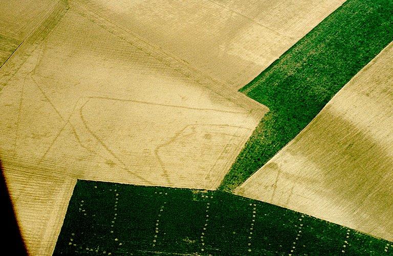 Vaste enclos complexe avec bords rectilignes et courbes, tâches et points.