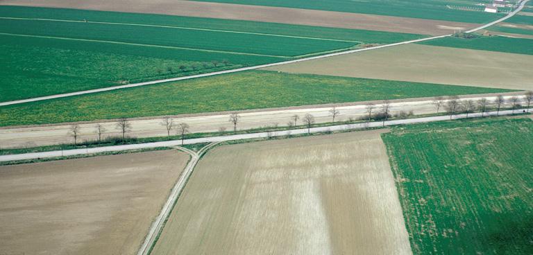 Voie romaine Amiens-Noyon. La D934 est considérée généralement comme étant superposée à la voie antique. En fait, elle s'est déplacée tantôt au sud, tantôt au nord où elle est ici visible grâce ses deux fossés de drainage et ses fossés de délimitation des bandes réservées.