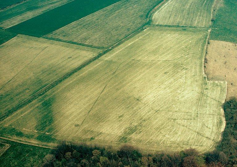 Sur le plateau, habitat de La Tène et gallo-romain matérialisé par une zone sombre, quelques fossés, des fosses et des trous de poteau.