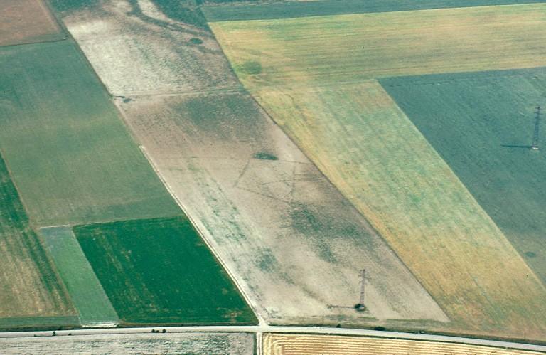 Ferme indigène ? constituée par un enclos fossoyé irrégulier et des fosses.