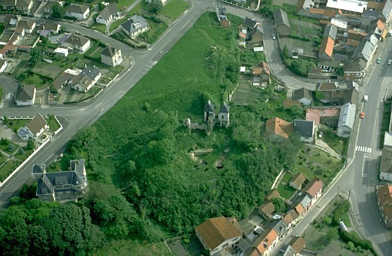 A cet emplacement, une occupation gallo-romaine est matérialisée notamment par un mur du IIe s. qui pourrait appartenir à un monument public. Au-dessus, un carolingien (aula ?) est conservé sur près de 4 m de hauteur. La motte primitive du XIe ou au XIIe s. ne posséde que de faibles levées de terre sur son pourtour. C'est vers le XIIIe ou le XIVe s. que la grande levée de terre est construite. Le château aurait été entièrement détruit en 1422, reconstruit 10 ans après, saccagé en 1472 et rasé en 1589. Les vestiges se dressent au sommet d'une butte circulaire artificielle en terre, située sur la déclivité d'une colline. Elle est défendue par de profonds fossés. Seule subsiste la porte flanquée de deux tourelles.