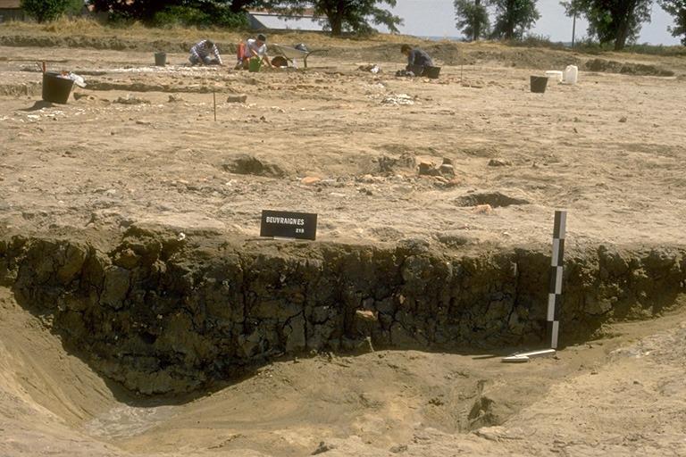 Structure 2043. Cette fosse, profonde au maximum de 0,60 m, est comblée avec de l'argile gris-noir très grasse contenant de nombreux tessons fragmentés.